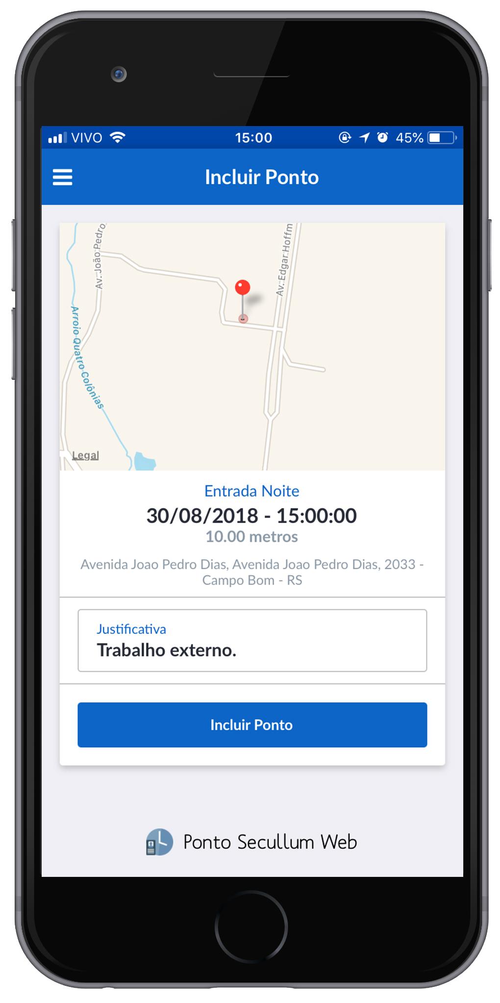 ARTE APLICATIVO COM PESSOA PONTO SECULLUM WEB - permite marcação de potno com geolocalização pelo sistema / app